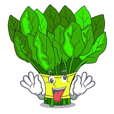 Verrückter Gemüsespinat lokalisiert auf der Maskottchenvektorillustration