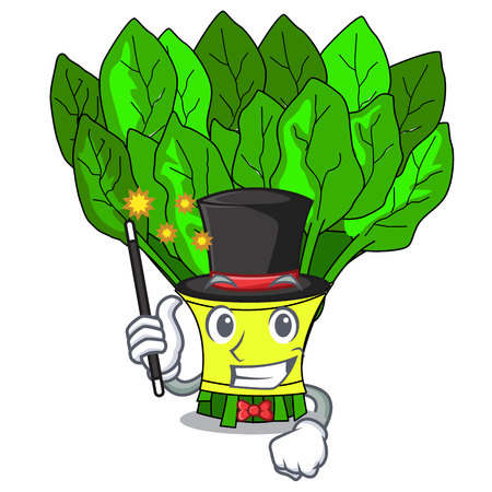 Magician vegetables spinach isolated on the mascot vector illustration