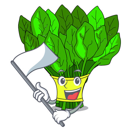 With flag vegetables spinach isolated on the mascot vector illustration