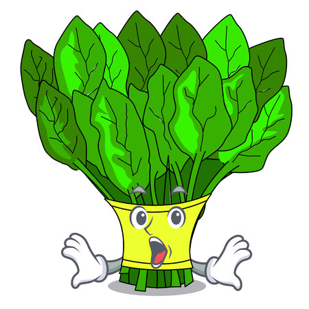 Surprised fresh spinach vegetables in character fridge vector illustration