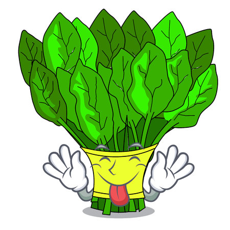 Tongue out vegetables spinach isolated on the mascot vector illustration