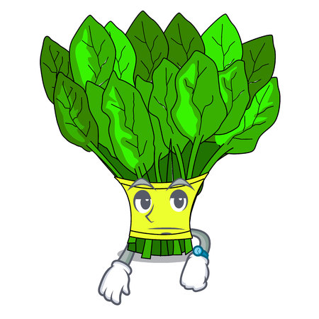 Waiting vegetables spinach isolated on the mascot vector illustration