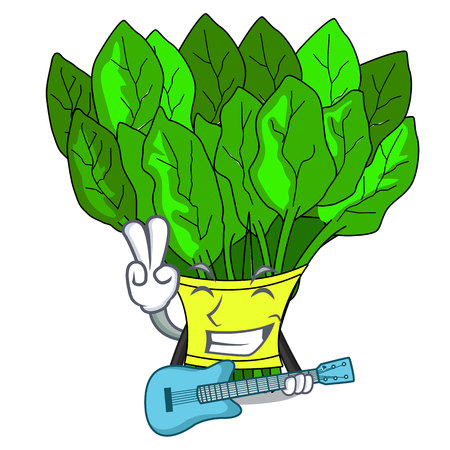 With guitar fresh spinach vegetables in character fridge vector illustration Illustration