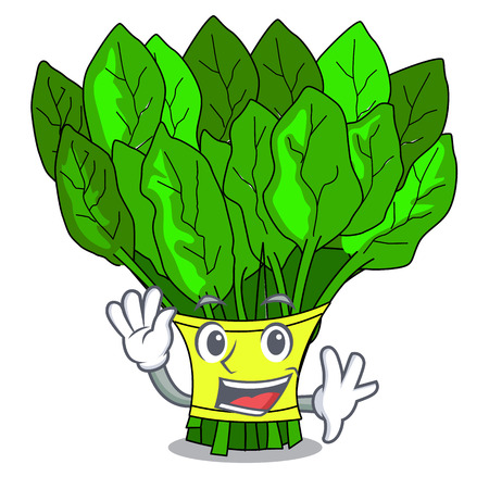 Waving vegetable spinach on a cartoon plate vector illustration