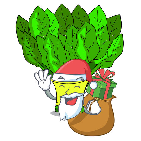 Santa with gift vegetables spinach isolated on the mascot vector illustration 일러스트