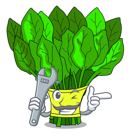 Mechanic vegetables spinach isolated on the mascot vector illustration Vetores