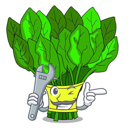 Mechaniker-Gemüse-Spinat isoliert auf der Maskottchen-Vektor-Illustration Vektorgrafik