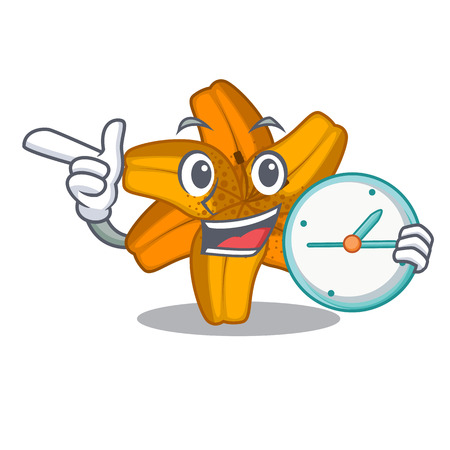 With clock tiger lily flowers in pot characters vector illustartion