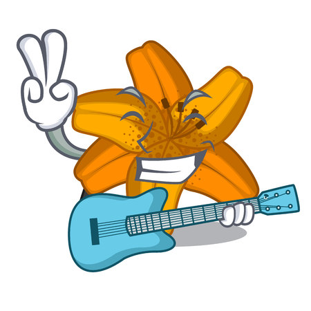 With guitar lily tiger flower in cartoon tree vector illustartion