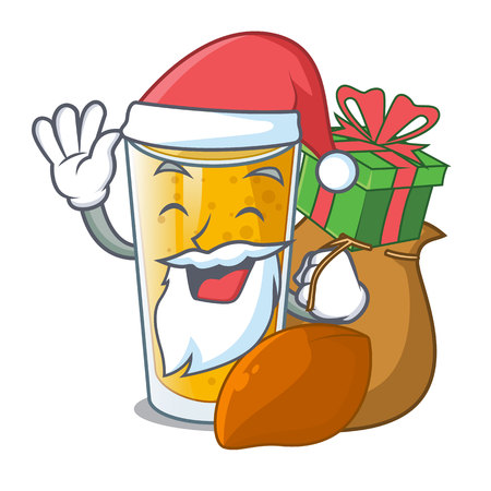 Santa with gift lassi mango in the character fridge vector illustartion