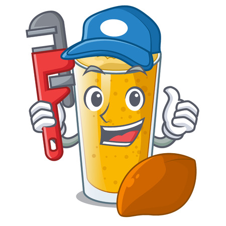 Plumber lassi mango in the character fridge vector illustartion