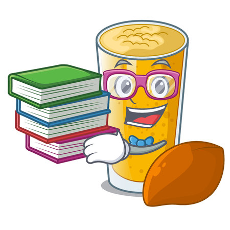 Student with book lassi mango in the character fridge vector illustartion