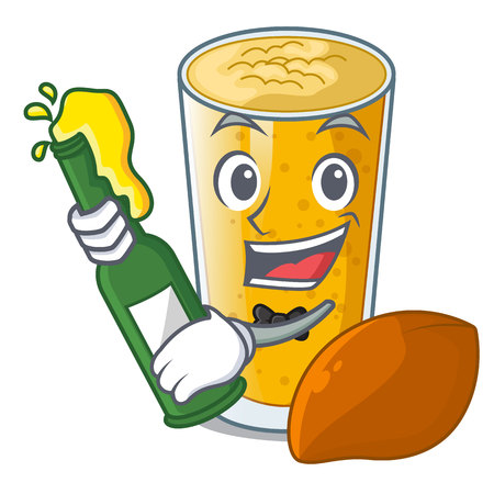 With beer lassi mango in the character fridge vector illustartion Ilustração