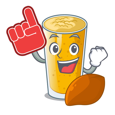 Foam finger lassi mango in the character fridge vector illustartion