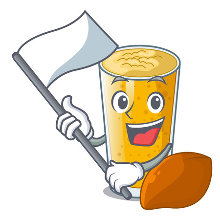 With flag lassi mango in the character fridge vector illustartion Ilustração