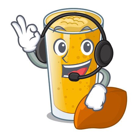 With headphone lassi mango in the character fridge vector illustartion Ilustração