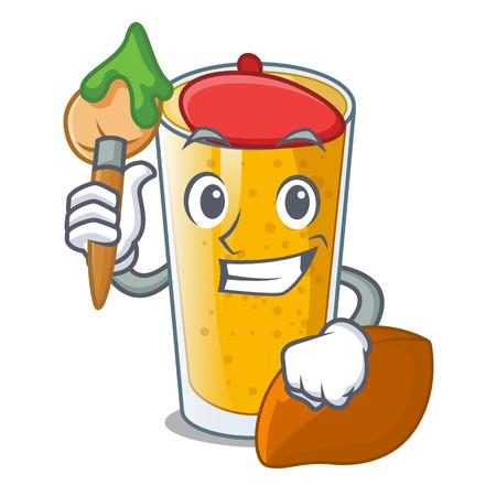 Artist lassi mango in a cartoon glass vector illustartion