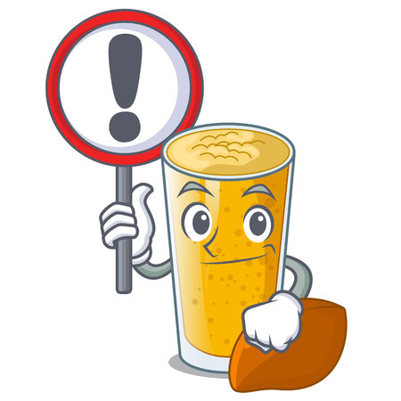 With sign lassi mango in a cartoon glass vector illustartion