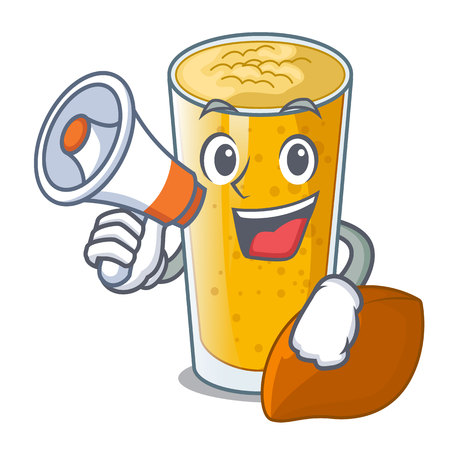 With megaphone lassi mango in a cartoon glass vector illustartion