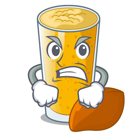 Angry lassi mango on the mascot table vector illustartion 矢量图像