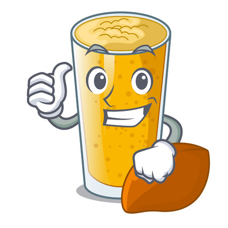Thumbs up lassi mango in a cartoon bottle vector illustartion
