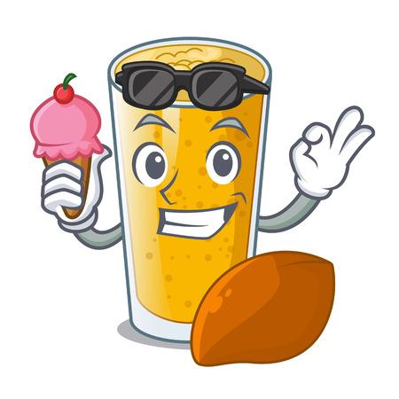 With ice cream lassi mango in a cartoon bottle vector illustartion
