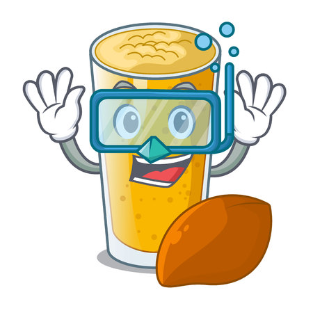 Diving lassi mango in a cartoon bottle vector illustartion