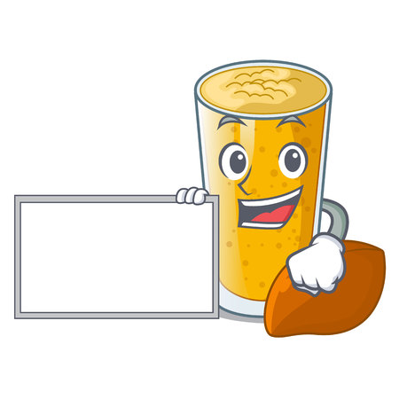 With board lassi mango in a cartoon glass vector illustartion