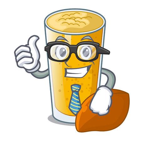 Businessman lassi mango in a cartoon bottle vector illustartion
