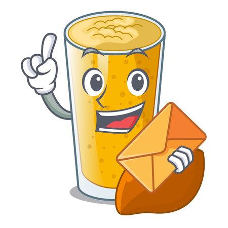 With envelope lassi mango in a cartoon bottle vector illustartion