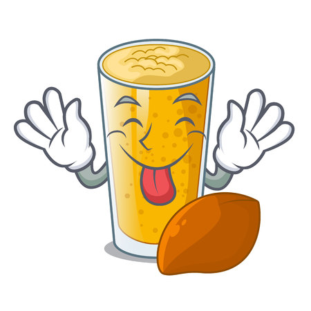 Tongue out lassi mango in the character fridge vector illustartion
