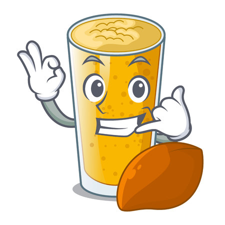 Call me lassi mango in the character fridge vector illustartion