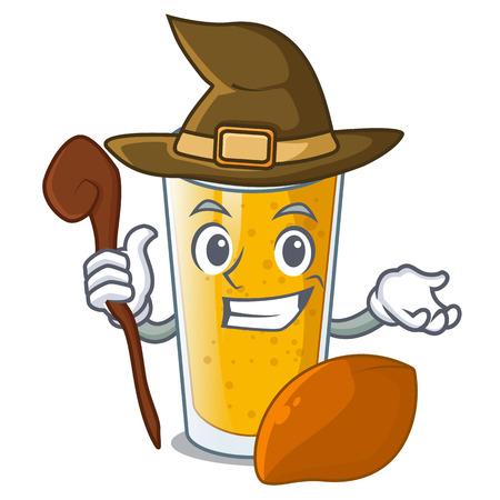 Witch lassi mango on the mascot table vector illustartion Illustration