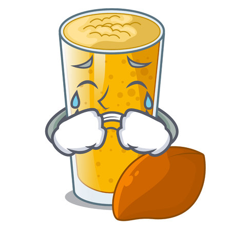 Crying lassi mango on the mascot table vector illustartion
