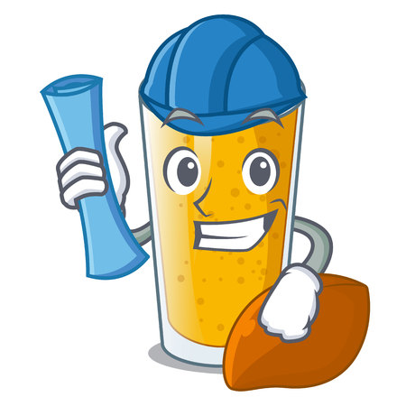 Architect lassi mango in a cartoon bottle vector illustartion