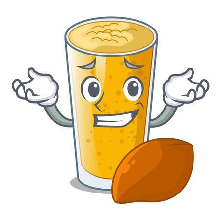 Grinning lassi mango in a cartoon bottle vector illustartion