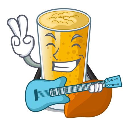 With guitar lassi mango on the mascot table vector illustartion Stock Illustratie