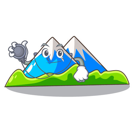 Doctor beautiful mountain in the cartoon form Illusztráció