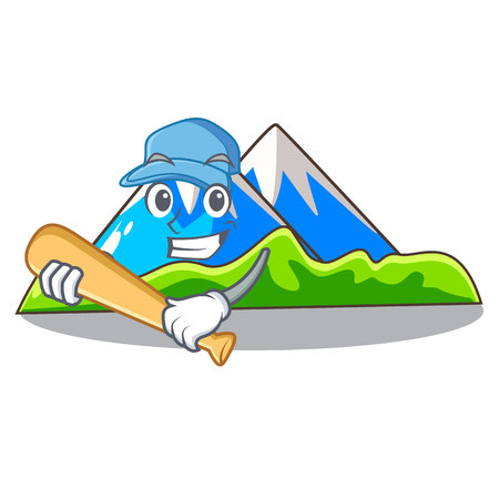 Playing baseball beautiful mountain in the cartoon form