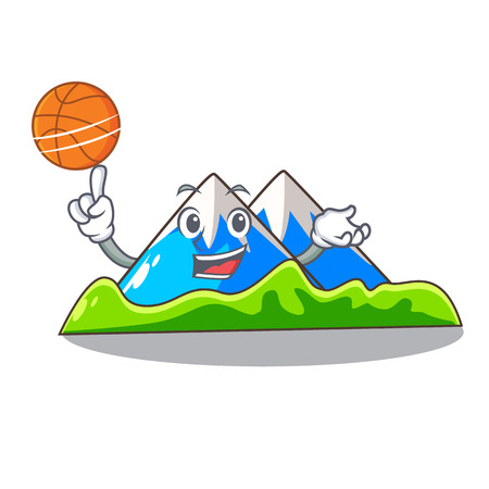 With basketball beautiful mountain in the cartoon form