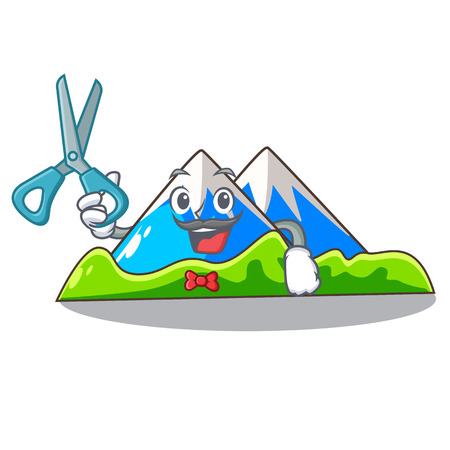 Barber beautiful mountain in the cartoon form