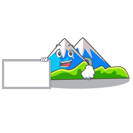 With board beautiful mountain in the cartoon form