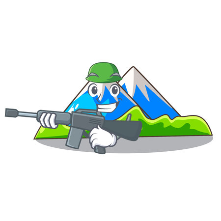 Army beautiful mountain in the cartoon form Illustration