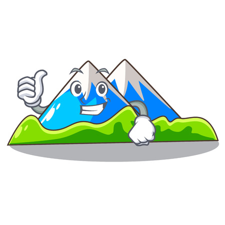 Thumbs up miniature mountain in the character form vector illustration