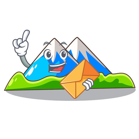With envelope miniature mountain in the character form vector illustration