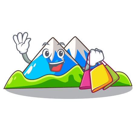 Shopping miniature mountain in the character form vector illustration
