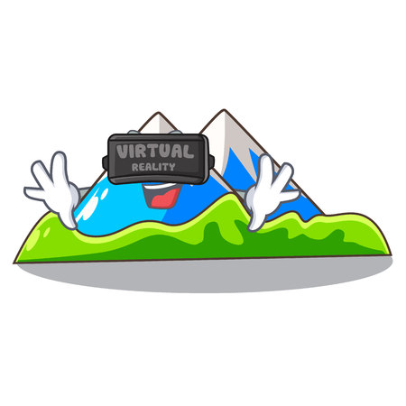 Virtual reality mountain scenery isolated from the mascot vector ilustration