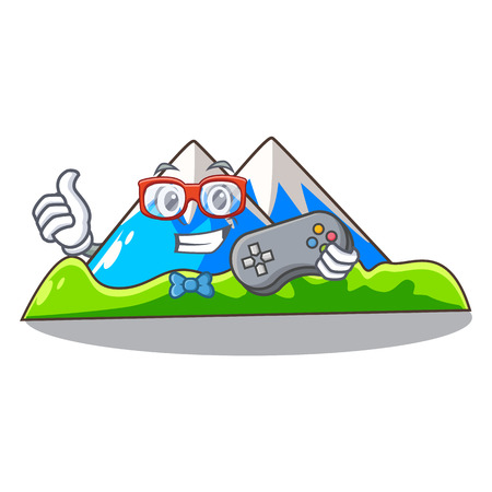 Gamer mountain scenery isolated from the mascot vector ilustration