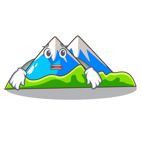 Afraid mountain scenery isolated from the mascot vector ilustration