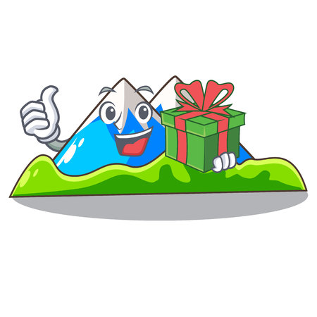With gift mountain scenery isolated from the mascot vector ilustration